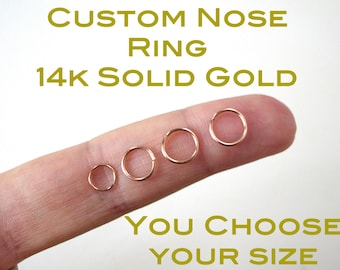 Nose Ring - SOLID 14 Karat Gold - 14k Continuous / Seamless Ring - Gauges Available: 24 , 22 , 20 , 18