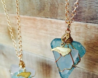 North Carolina Love! Recycled Glass necklaces w brass NC charm!