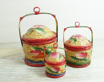 Vintage Asian Chinese Wedding Baskets Oriental Hand Painted Baskets Antique Woven Wicker Split Bamboo 1950s