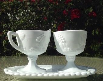 Milk Glass Sugar and Creamer Set