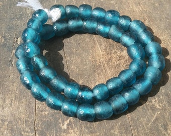 """African recycled glass beads, 10 mm.diam., 1 strand  16"""", 46/47 beads,  Mali blue"""