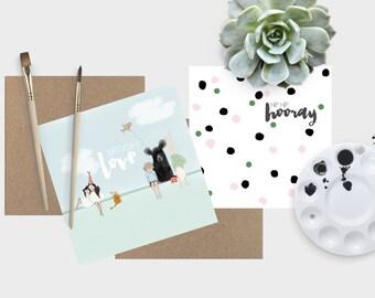Greeting Card Pair - Birthday Love & Hip Hip Hooray