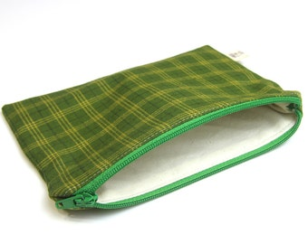 Green zipper pouch, tartan cosmetic pouch, plaid notions storage pouch, pencil case