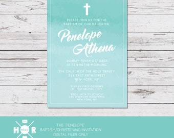 Printable - The 'Penelope' Modern Baptism | Christening | Naming Ceremony | Watercolor First Communion Invitation | Classic | Simple