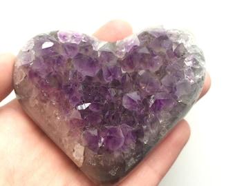 Amethyst Love heart cluster druze