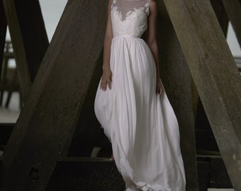 Thick silk lace, Halter wedding dress