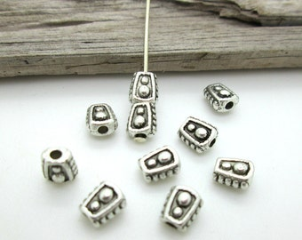 Small Silver Spacer Bead, Trapezoid Bead, Celtic Style Spacer, 6x5x4mm (10)