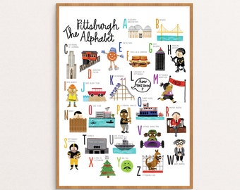 Pittsburgh Alphabet Art Print / Nursery Art / Wall Art / 11x14