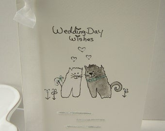 Cats wedding card, hand painted card, cats card, wedding card, wedding gift, daughter card, son card, handmade card, personalise, wedding