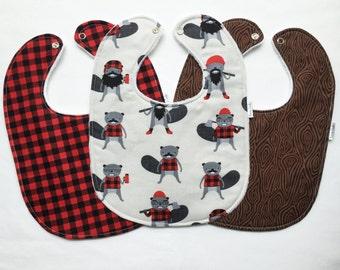 Baby Bib Set - Modern Baby Bib Set - Burly Beavers Bib Set - Lumberjack Baby Bib Set - Hipster Baby Bib Set - Handmade Baby Gift