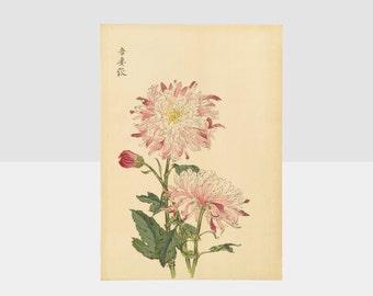 100 chrysanthemums by keika, chrysanthemum orange woodblock print, keika hasegawa chrysanthemum print, original woodblock print, keika art