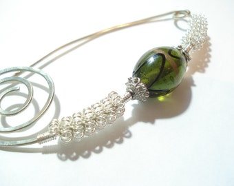 Shawl Pin Hammered Silver Wire Green Lampwork Scarf Pin Fibula Pin Beaded Modern Hammered Silver Pin Wire Wrapped Scarf or Shawl Pin