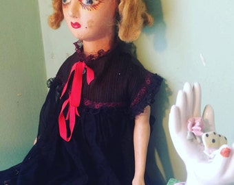 Black & Red Antique Boudoir Doll