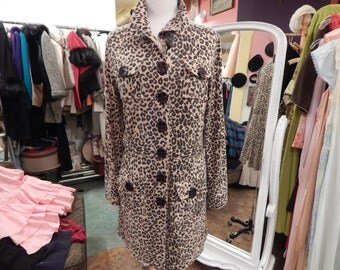 1980 Shirt Dress Leopard print Size M