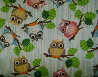 Owls on Branches Flannel Fabric Sold by the Yard