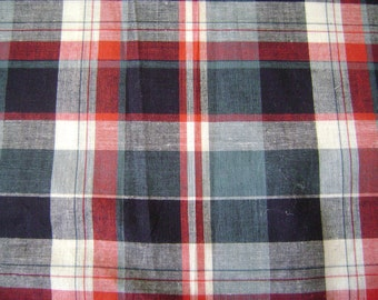 Madras Checks Blue & Red Cotton Fabric by the yard