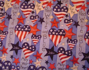 May Your Heart Beat True Cotton Fabric by the yard
