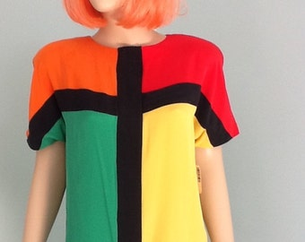 Vintage 80's Color Block Blouse,Adrianna Papell,Silk,Size S-M