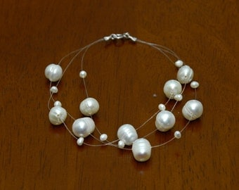 Wedding Prom Bridal Sterling Silver Floating White Pearl Illusion Bracelet