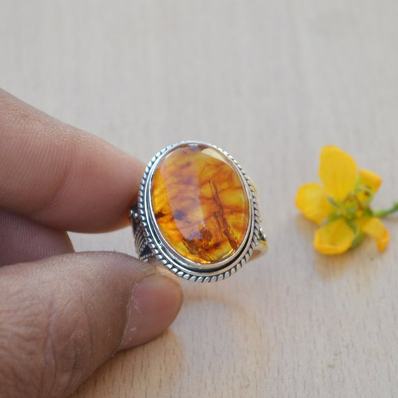 Genuine Lithuanian Baltic Amber, Yellow Amber Gemstone Ring, Sterling Silver Ring, Cocktail Designer Ring, Amber Ring, Cocktail Ring Size 8