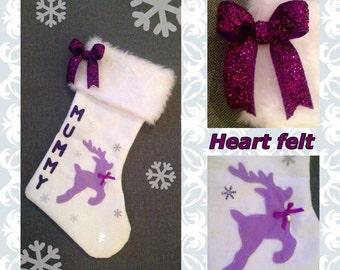 Faux fur trim reindeer Christmas stocking