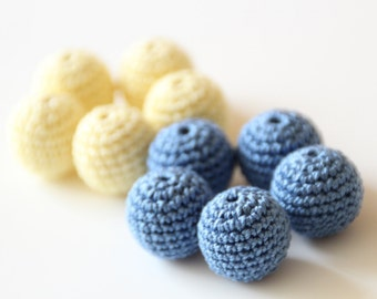 Crochet beads 18 mm 10 PC / Natural Handmade crochet wooden beads / Baby Teething beads