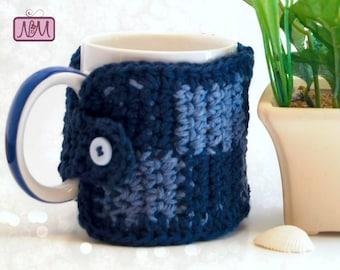Crochet Checkerboard Coffee Mug Cozy, Coffee Mug Sleeve, Tea Cozy, Tea Mug Sleeve, Coffee Cozy, Coffee Mug Warmer, Blue, Coffee Cup Cozy
