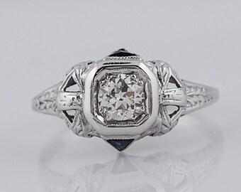 1920's Engagement Ring Art Deco .36 Old European Cut Diamond in 18k White Gold