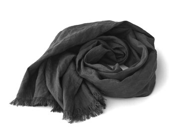 gray pure linen scarf for women and men, charcoal, graphity, dark gray, steel gray