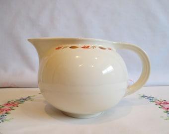 Vintage Universal Cambridge Pottery Ceramic Water Pitcher with Ice Lip Largo Pattern