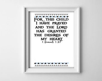 """INSTANT DOWNLOAD 8X10""""printable digital art file-For this child I have prayed-A place to put a baby boy photo-Blue boarder-Nursery decor"""