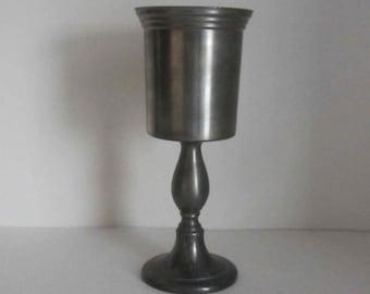 Vintage wine pewter glass,
