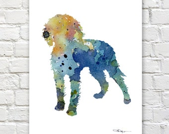 Blue American Water Spaniel Art Print - Abstract Watercolor Painting - Wall Decor