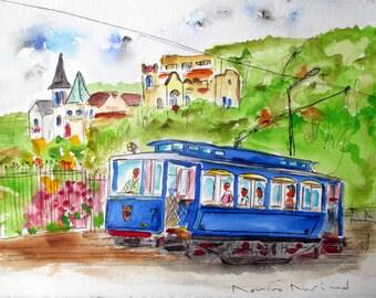 ENJOYING BARCELONA TRAM / original watercolor / blue tram / by Rovira Rusiñol /