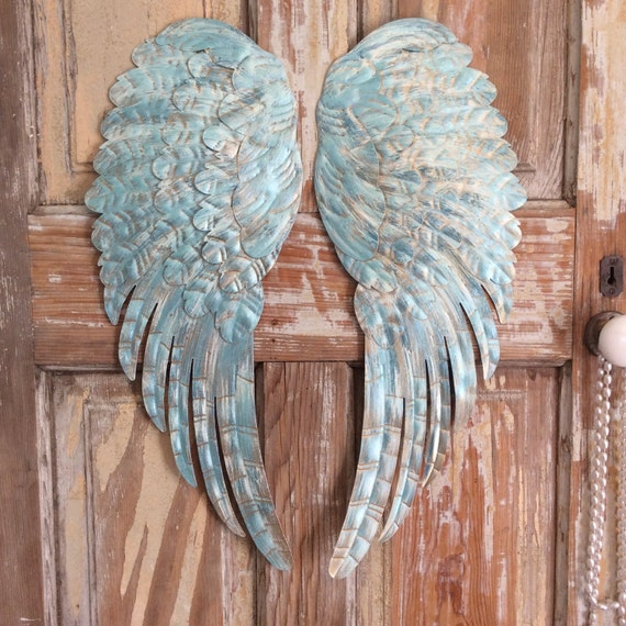 Large Distressed Wall Decor : Large metal angel wings wall decor distressed turquoise