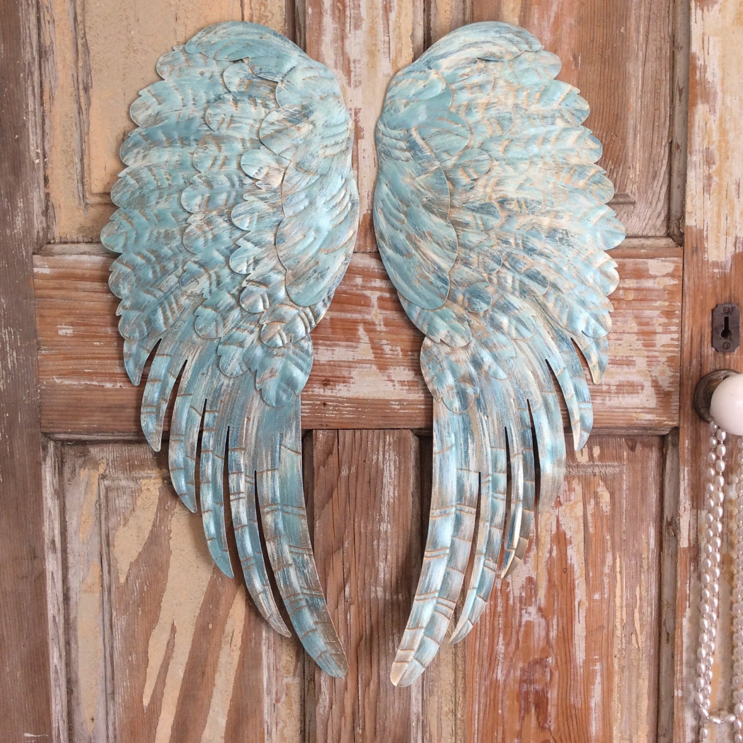 Large Metal Angel Wings Wall Decor Distressed Turquoise