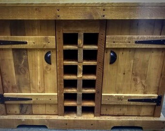 Venice Cabinet with Wine rack, Handmade, Shabby chic,Rustic, Countryside style
