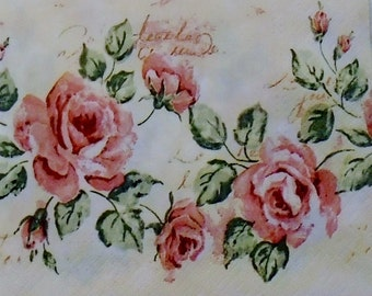 Two (2) Vintage, Pink Roses, Cream Background, Shabby Chic, Luncheon Napkins for Decoupage and Paper Crafts