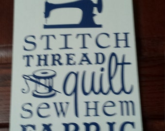 Sewing Quilting Word Collage Subway Art Plaque