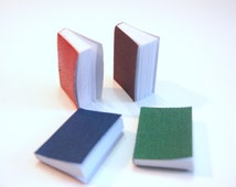 "Miniature Books with 66 Pages (1""H) Package Color Choice Set of 4 Embellishment Buttons 1/12 or 1/6 Dollhouse Supply"