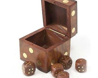 Handmade Wood Dice Box with Five Dice