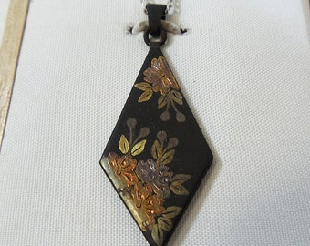Japanese Iron Pendant Necklace Diamond Shape, Inlay Etched Paint Floral Flowers