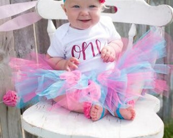 Tutu Birthday Outfit; Pink and blue birthday outfit; tutu set; girl tutu outfit; one year ; birthday