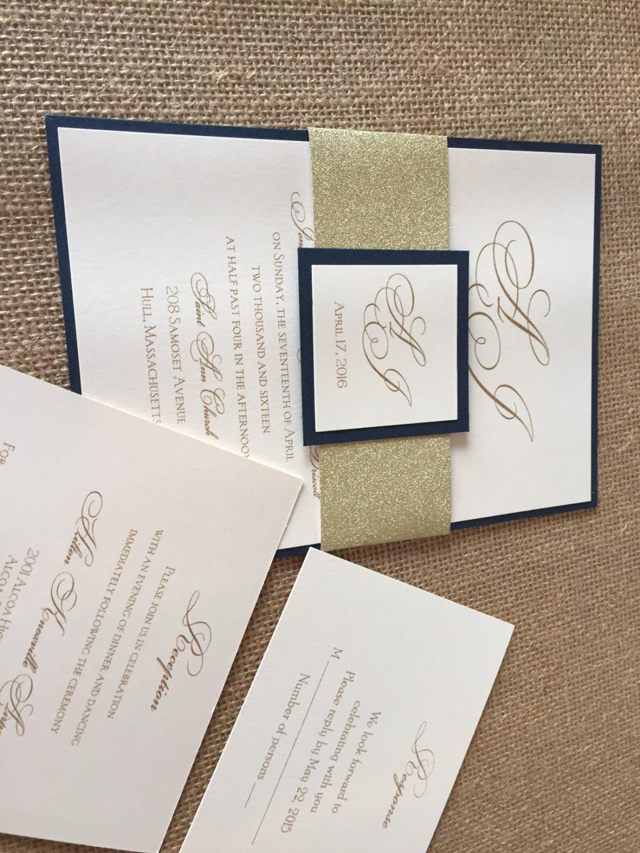 Navy Blue And Gold Wedding Invitations: Navy And Gold Wedding Invitations Navy Wedding Invitations
