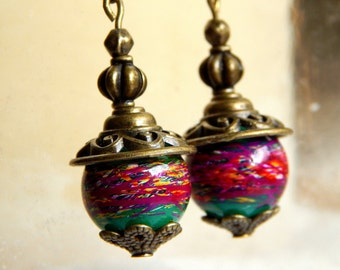 Ethnic Earrings Green / Multicolored and antique bronze