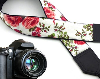 Roses Camera strap.  Flowers Camera Strap DSLR. White. Red. Camera accessories. Gift for women by InTePro