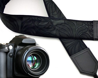 Black camera strap with texture. Neck camera strap Ornaments. Camera strap for DSLR & SLR cameras. Gift for her by InTePro