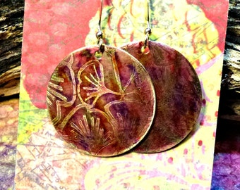 Handcrafted Etched Brass Earrings #70324
