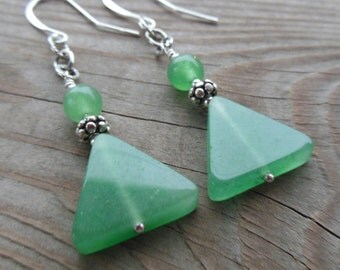 Aventurine and Sterling Silver Dangle Earrings