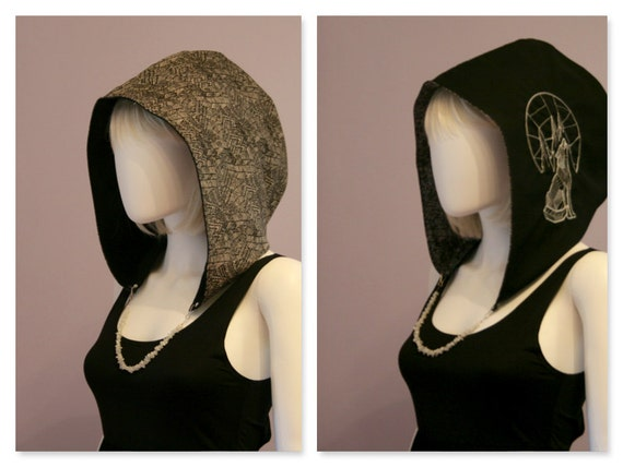 Howling Wolf Crystal Hoods / festival hood / reversible / wolf / geometric / trippy / geometric wolf / geometry / black and white